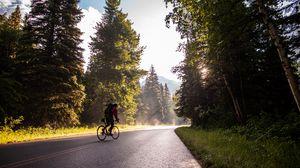 Превью обои велосипед, турист, велосипедист, дорога, деревья