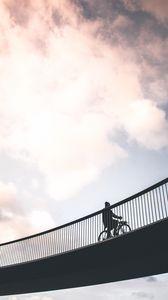 Превью обои велосипедист, минимализм, мост, небо