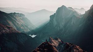 Превью обои вершины, уединение, одиночество, горы, швейцария