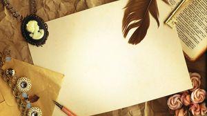 Превью обои винтаж, бумага, камея, ключ, перо, книга