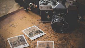Превью обои винтаж, ретро, фотоаппарат, карта, фотографии, путешествие