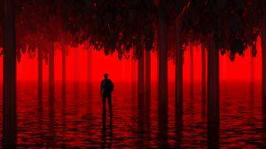 Превью обои вода, деревья, человек, красный, неон, свет, затопленный