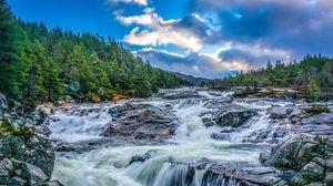 Превью обои водопад, камни, скалы, пейзаж, вечер, деревья