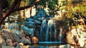 Превью обои водопад, камни, вода, река, hdr