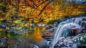 Превью обои водопад, лес, река, природа