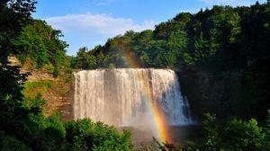 Превью обои водопад, радуга, деревья