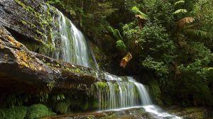 Превью обои водопад, река, камни, лето