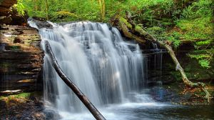 Превью обои водопад, трава, мох, река