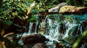Превью обои водопад, вода, камни, река, кусты