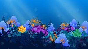Превью обои водоросли, море, арт, вектор