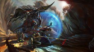 Превью обои воины, пещера, доспехи, сражение, арт, фэнтези