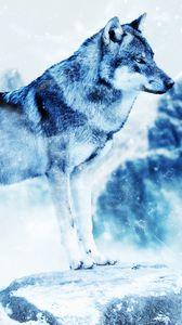 Превью обои волк, фотошоп, хищник, арт