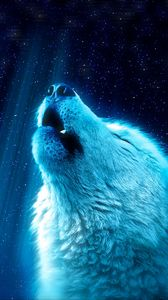 Превью обои волк, хищник, вой, белый, синий