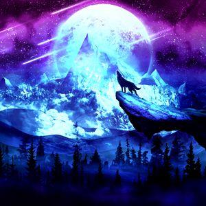 Превью обои волк, луна, ночь, горы, арт