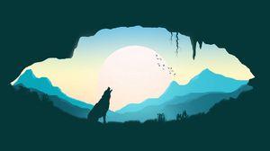Превью обои волк, силуэт, арт, пещера