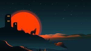 Превью обои волк, силуэт, здание, солнце, вектор, арт