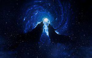 Превью обои волки, силуэты, звездное небо, арт, фантазия