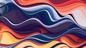 Превью обои волны, разноцветный, абстракция, линии