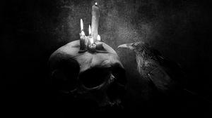 Превью обои ворона, птица, рисунок, череп, свеча