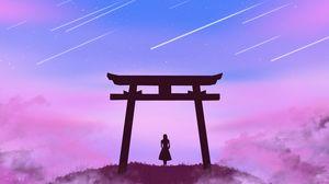 Превью обои ворота тории, девушка, силуэт, облака, звезды, арт