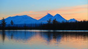 Превью обои восход, горы, озеро, пейзаж, утро