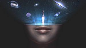 Превью обои вселенная, космос, лицо, ракета