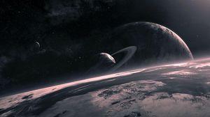 Превью обои вселенная, планеты, круг, звезды