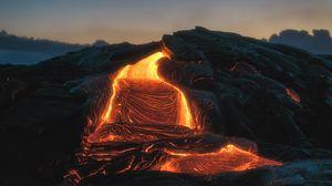 Превью обои вулкан, лава, огненный, плавление
