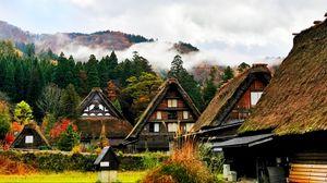 Превью обои япония, сиракава, дома, горы, деревья