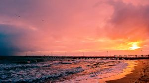 Превью обои закат, море, пирс, пейзаж
