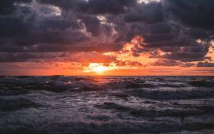 Превью обои закат, море, волны, облака, горизонт