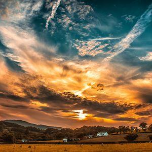 Превью обои закат, небо, облака, поле, деревья, горизонт