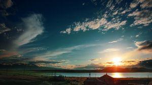Превью обои закат, небо, облака, свет