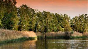 Превью обои закат, озеро, трава, деревья