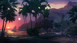 Превью обои закат, пляж, пальмы, море, арт