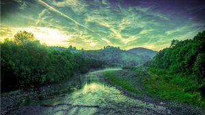 Превью обои закат, река, деревья, пейзаж