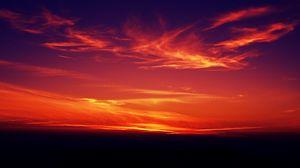 Превью обои закат, темный, сумерки, небо, облака