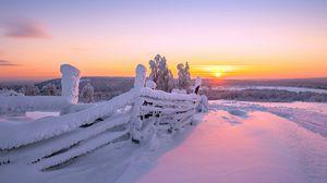 Превью обои закат, зима, забор, пейзаж