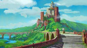 Превью обои замок, арт, фантастический, архитектура