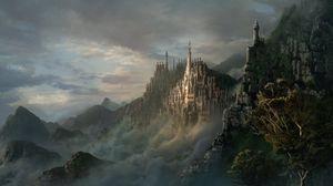 Превью обои замок, горы, город, туман