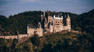 Превью обои замок, лес, архитектура, замок эльц, виршем, германия
