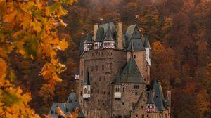 Превью обои замок, осень, архитектура, германия, ветки, листья