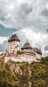 Превью обои замок, скала, возвышенность, старинный