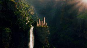 Превью обои замок, водопад, скалы, сказочный, фотошоп