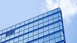 Превью обои здание, архитектура, конструкция, вид снизу, синий, минимализм