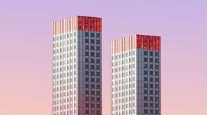 Превью обои здание, архитектура, минимализм, небо, два, небоскребы, роттердам, нидерланды