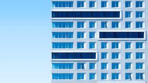 Превью обои здание, архитектура, небо, минимализм, синий, эстетика