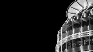 Превью обои здание, архитектура, ночь, чб, минимализм