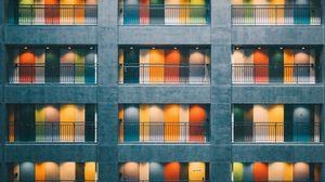 Превью обои здание, двери, архитектура, минимализм, разноцветный