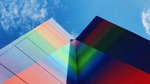 Превью обои здание, фасад, разноцветный, вид снизу